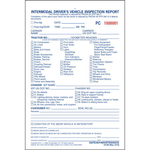 Intermodal Driver's Vehicle Inspection Report - Pre-Trip, Snap-Out Format - Personalized (05570)