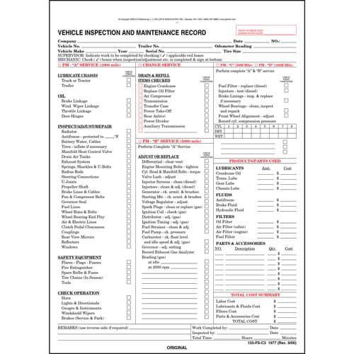 Vehicle Inspection and Maintenance Record - Detailed (00246)