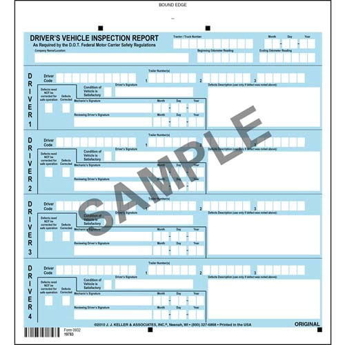J. J. Keller Services Driver Vehicle Inspection Report - Personalized (05612)