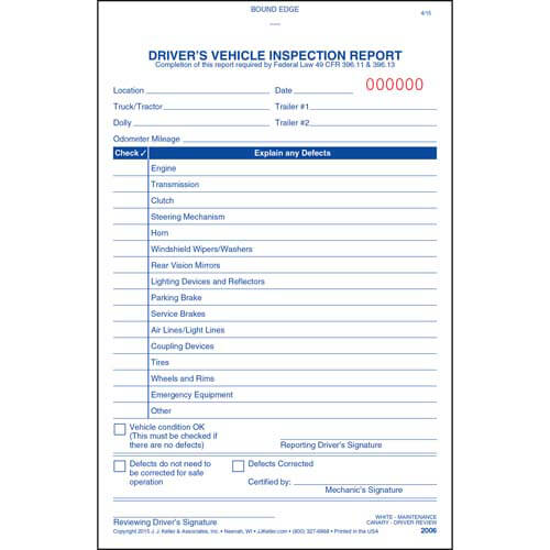 Simplified Driver's Vehicle Inspection Report - Vertical Format, 3-Ply, Carbonless, Book Format - Stock (01519)