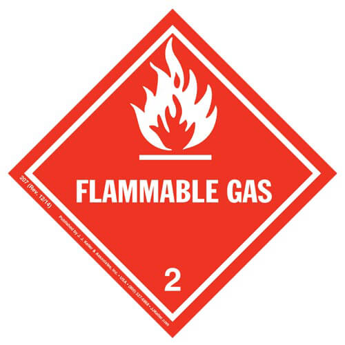 Hazardous Materials Labels - Class 2, Division 2.1 -- Flammable Gas - Paper, Roll (00012)