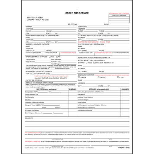 Household Goods Form - Order for Service (01955)