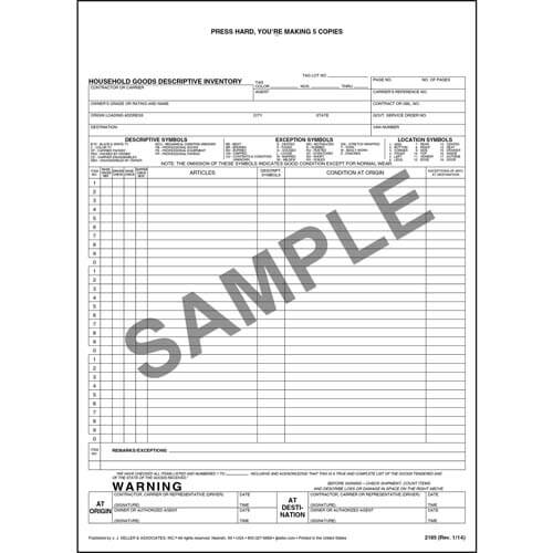 Household Goods Descriptive Inventory Form - Short Form (00393)