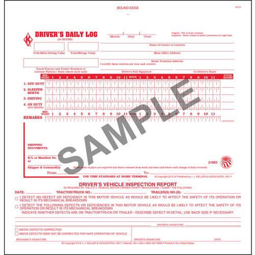 2-In-1 Driver's Daily Log Book w/Simplified DVIR, 2-Ply, w/Carbon, No Recap - Personalized (01094)