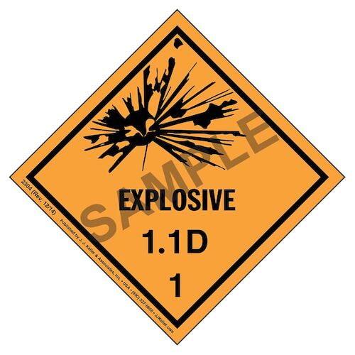 Explosives Label - Class 1, Division 1.1D - Paper (01712)