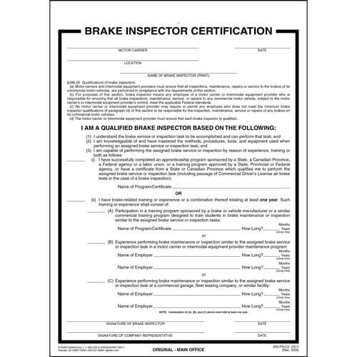 Brake Inspector Certification Form (00456)