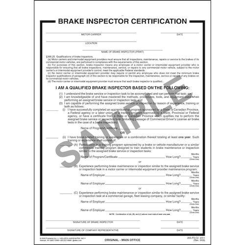 Brake Inspector Certification Form (00456)