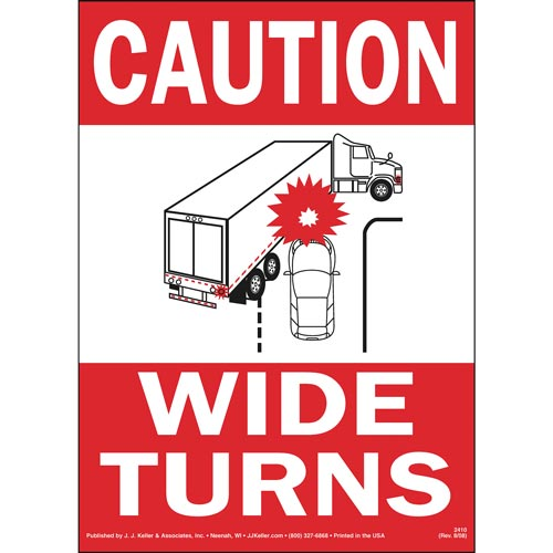 Caution Wide Turns Sign with Icon - Reflective (00501)