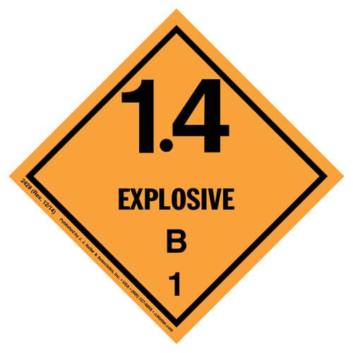 Explosives Label - Class 1, Division 1.4B - Paper (01716)