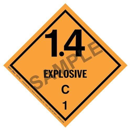 Explosives Label - Class 1, Division 1.4C - Paper (01717)