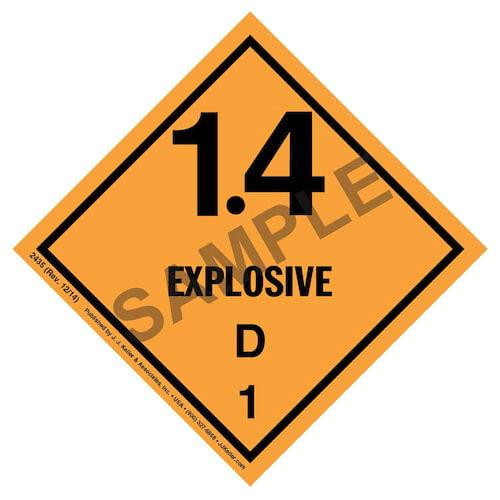 Explosives Label - Class 1, Division 1.4D - Paper (01718)