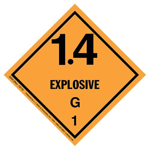 Explosives Label - Class 1, Division 1.4G - Paper (01719)