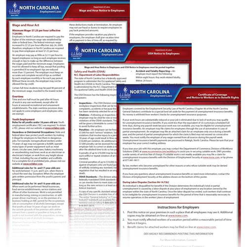 North Carolina & Federal Electronic Labor Law Poster Management Service (00601)