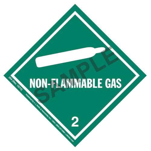 Hazardous Materials Labels - Class 2, Division 2.2 -- Non-Flammable Gas - Paper, Roll (00546)