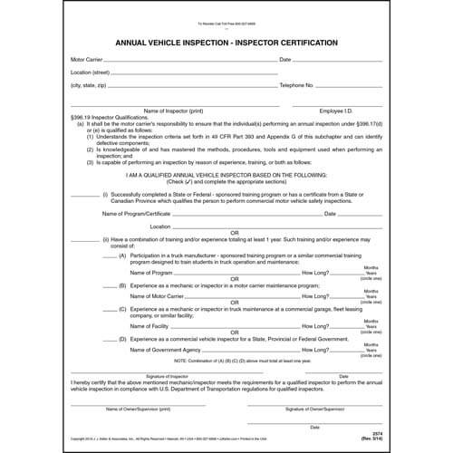 Annual Vehicle Inspection - Inspector Certification Form