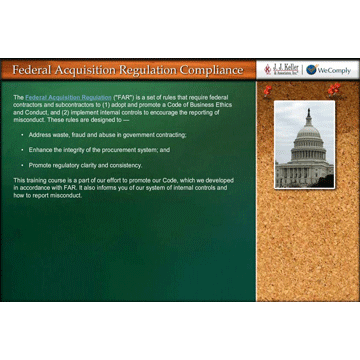 Federal Acquisition Regulation (FAR) Code of Business Conduct - Online Training Course (06422)