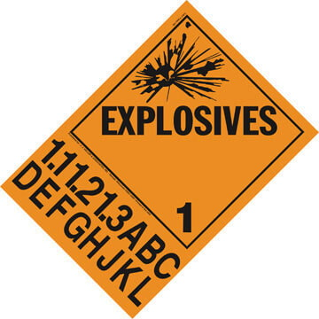 Division 1.1A-1.3L Explosives Placard - Worded (01722)