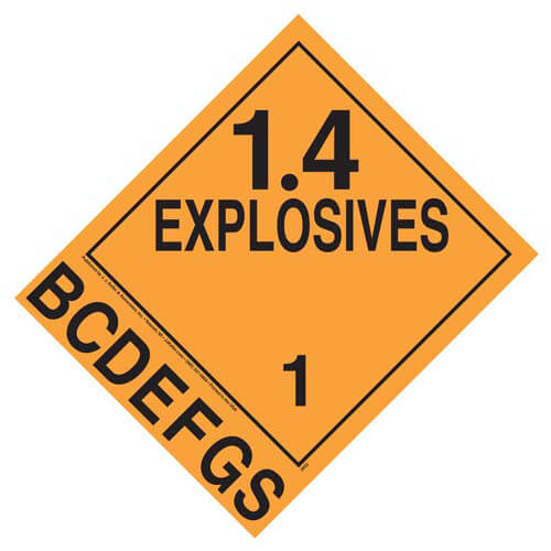 Division 1.4B-1.4S Explosives Placard - Worded (01723)