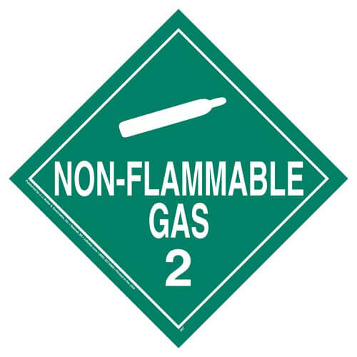 Division 2.2 Non-Flammable Gas Placard - Worded (02442)