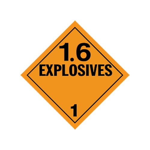Division 1.6 Explosives Placard - Worded (02072)