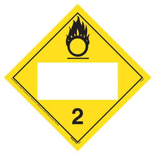 Division 2.2 Oxygen Placard - Blank (01559)