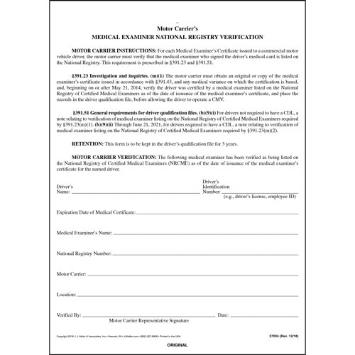 Medical ExaminerS National Registry Verification  SnapOut Format