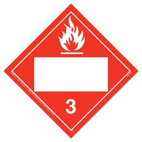 Class 3 Flammable Liquid Placard - Blank (02307)