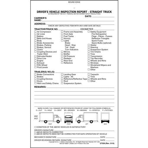 Detailed Driver's Vehicle Inspection Report - Straight Truck, Book Format - Stock (07054)