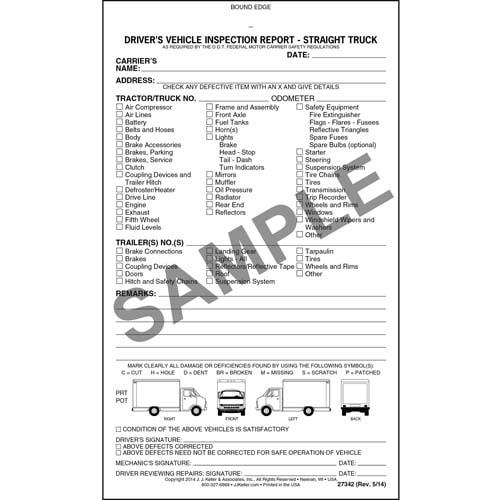 Detailed Driver's Vehicle Inspection Report - Straight Truck, Book Format - Personalized (07055)