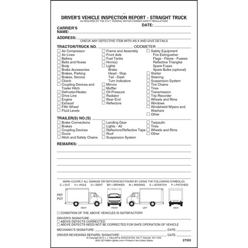 Detailed Driver's Vehicle Inspection Report - Straight Truck, Snap-Out Format - Stock (07066)