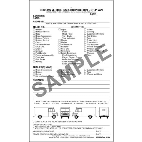 Detailed Driver's Vehicle Inspection Report - Step Van, Snap-Out Format - Stock (07067)