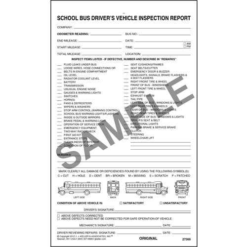 Detailed Driver's Vehicle Inspection Report - School Bus, Snap-Out Format - Stock (07071)