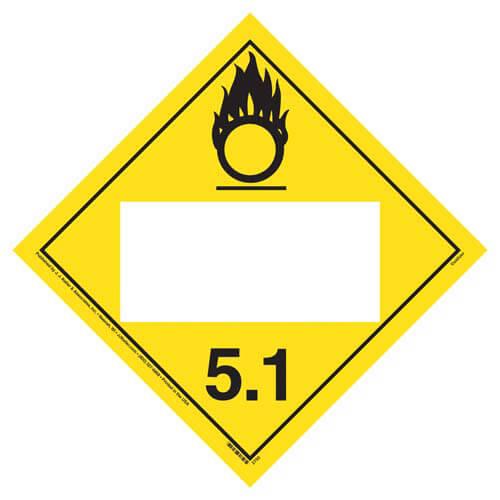 Division 5.1 Oxidizer Placard - Blank (02325)