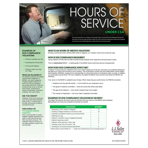 CSA Poster: Hours of Service Compliance (03247)