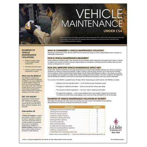 CSA Poster: Vehicle Maintenance (03250)