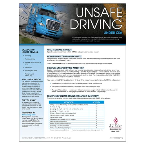 CSA Poster: Unsafe Driving (03246)