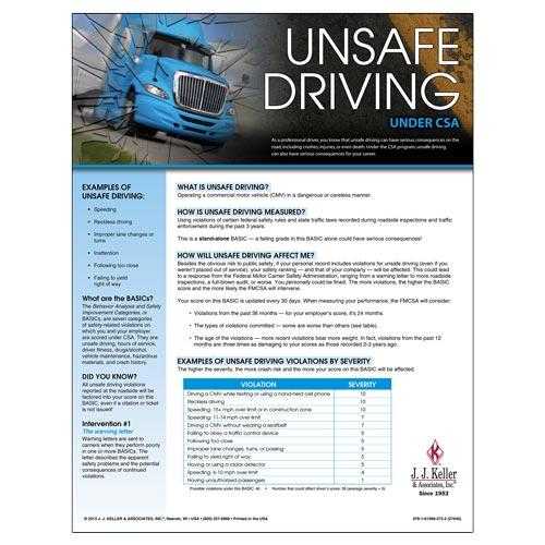CSA Poster: Unsafe Driving (03246)