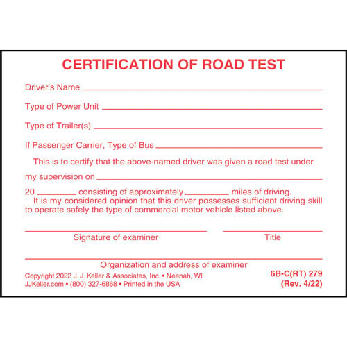 Certification of Written Examination and Road Test - Pocket Cards (04003)