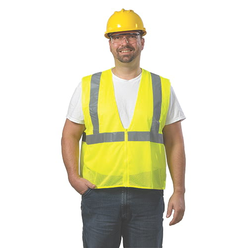 GloWear® Type R Class 2 Safety Vest - Mesh, Zipper Closure, No Pockets (00253)
