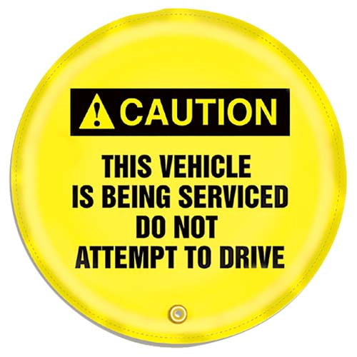 STOPOUT® Steering Wheel Message Cover - Caution This Vehicle is Being Serviced... (07416)