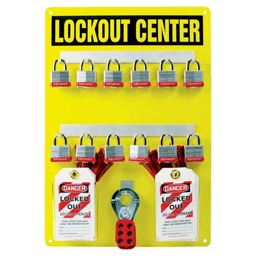 STOPOUT® Lockout Center - Aluminum Hanger Board, 12-Lock Cap (07427)