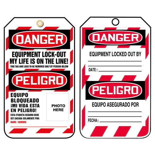 Bilingual Lockout/Tagout Tag - Danger Equipment Lock Out My Life Is On the Line (07602)