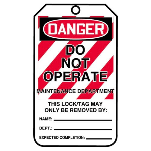 Lockout/Tagout Tag - Danger Do Not Operate Maintenance Department (07549)