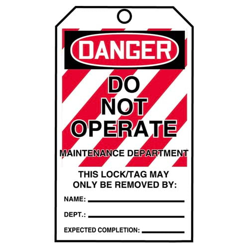 STOPOUT® Tags By-The-Roll - Danger Do Not Operate Maintenance Department (07590)