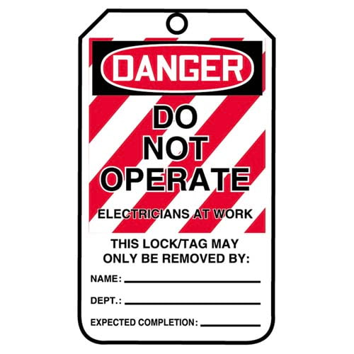 Lockout/Tagout Tag - Do Not Operate, Electricians At Work (07550)