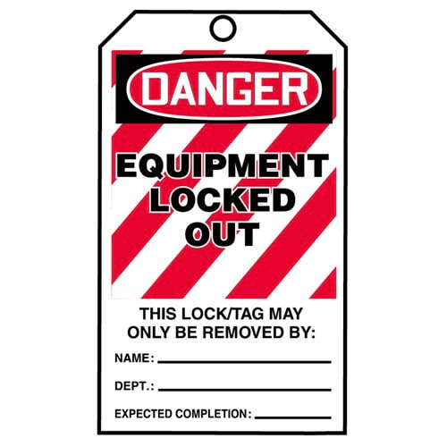 STOPOUT® Tags By-The-Roll - Danger Equipment Locked Out (07592)