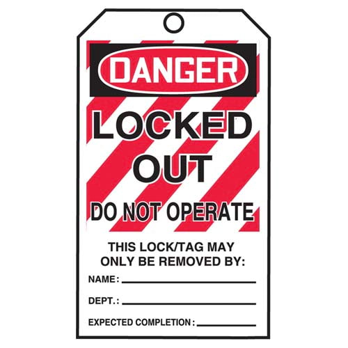 STOPOUT® Tags By-The-Roll - Danger Locked Out Do Not Operate (07593)