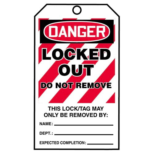 STOPOUT® Tags By-The-Roll - Danger Locked Out Do Not Remove (07594)