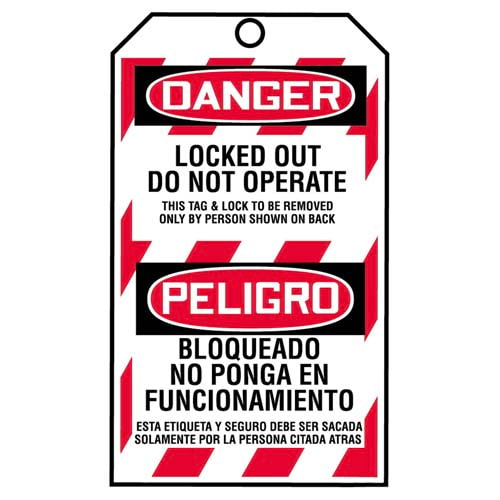 STOPOUT® Bilingual Tags By-The-Roll - Danger Locked Out Do Not Operate (07596)