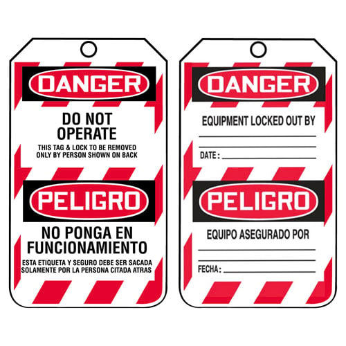 Bilingual Lockout/Tagout Tag - Danger Do Not Operate (07599)